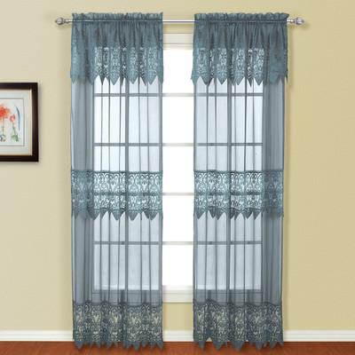 Valerie Macrame Rod Pocket Curtain Panel - Blue