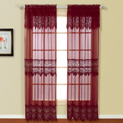 "Valerie Macrame Curtain Panel 84"" - Burgundy"