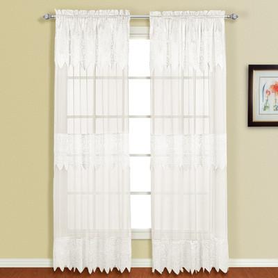 Valerie Macrame Rod Pocket Curtain Panel - White