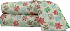 Micro Flannel 4pc Queen Size Sheet Set - Snowflakes