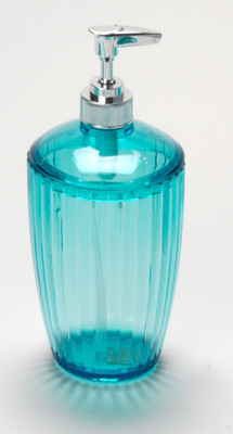 Acrylic Ribbed Lotion/Soap Dispenser - Cerulean Blue