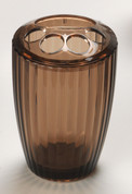 Acrylic Ribbed Toothbrush Holder - Brown