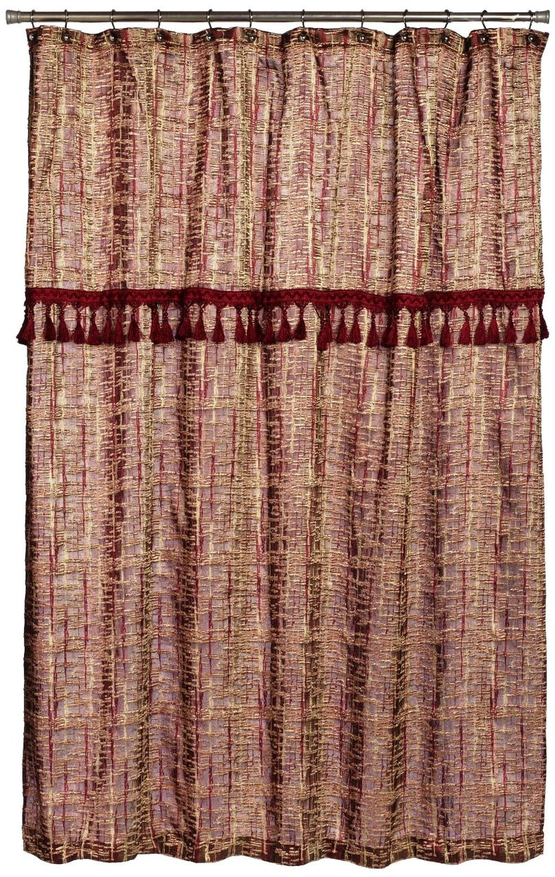 Barbara Fabric Shower Curtain Burgundy