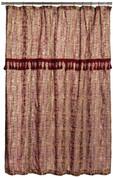 Barbara Fabric Shower Curtain - Burgundy