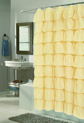 Carmen Ruffled Shower Curtain - Gold