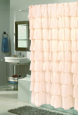 Carmen Ruffled Shower Curtain - Ivory