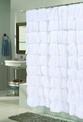 Carmen Ruffled Shower Curtain - White