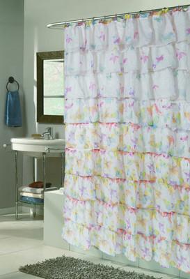 Carmen Ruffled Shower Curtain - Butterfly