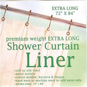 "Extra Long Premium Weight Vinyl Shower Curtain Liner 84"" long"