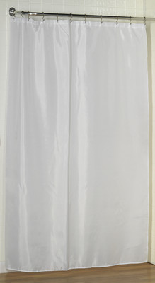 """Extra Long Fabric Shower Curtain Liner 84"""" long - White"""