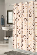 EZ On Shower Curtain - No Shower Hooks required - Circles