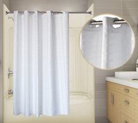 Tracks Pre-hooked Fabric Shower Curtain - White