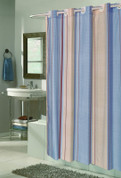 EZ On Shower Curtain - No Shower Hooks required - Stripes - Blue