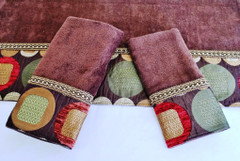 Metro Brown Embellished 3pc Towel SET