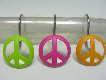 Peace Out - Shower Curtain Hooks - set of 12