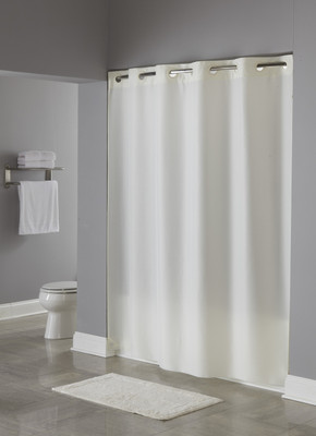 Plainweave Hookless Fabric Shower Curtain Beige