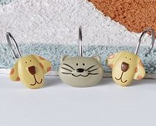Raining Cats & Dogs - Shower Curtain Hooks set of 12