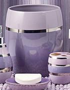Shimmer Stripe lilac wastebasket