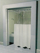 Stall Size Anti-Bacterial Vinyl Shower Curtain - With Clear Top