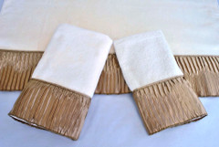 Vertical Pleats Ecru Embellished 3pc Towel SET