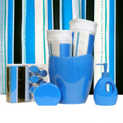 Vibes BLUE - Lotion Pump and Toothbrush Holder SET