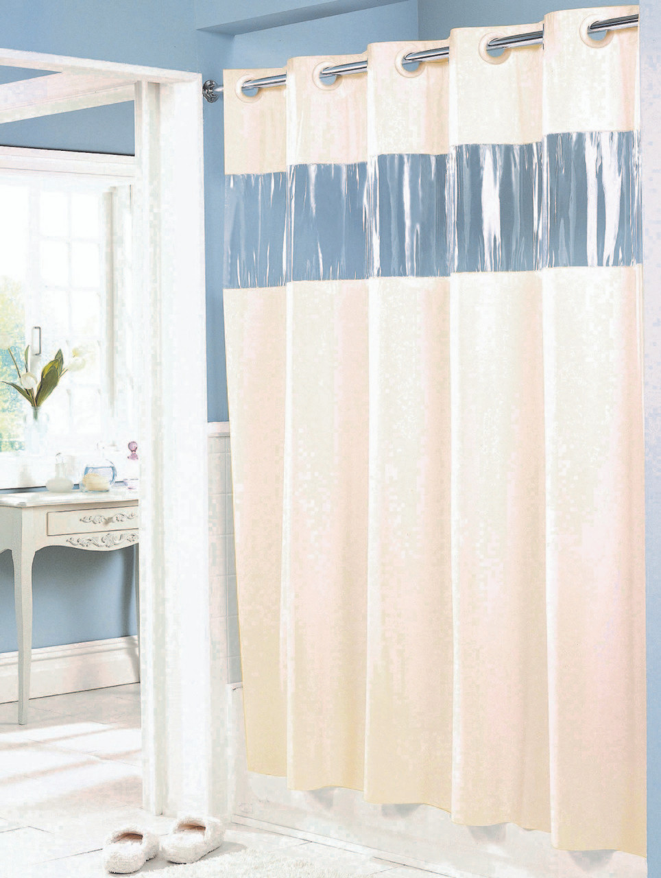 Vision HOOKLESS Vinyl Shower Curtain Beige