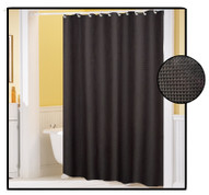 Waffle Weave FABRIC Shower Curtain - BLACK
