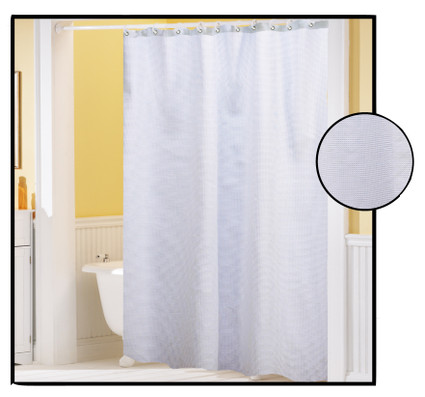 Waffle Weave Fabric Shower Curtain White Linens4less Com