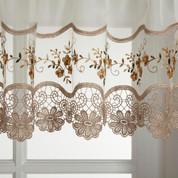 Vintage gold embroidered kitchen curtain
