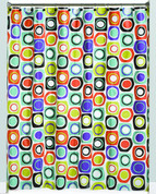 Squares and Dots - Vinyl Shower Curtain