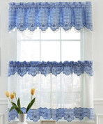 Provence Gingham Kitchen Curtains - Available in Blue, Red, Black, Chocolate