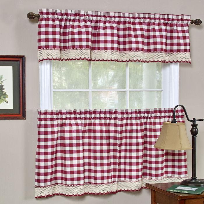 Buffalo Check Kitchen Curtain - Burgundy