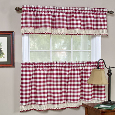 Buffalo Check Kitchen Curtain - Burgundy