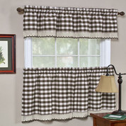 Buffalo Check Kitchen Curtain - Chocolate Brown