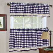 Buffalo Check Kitchen Curtain - Navy