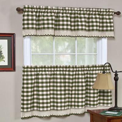 Buffalo Check Kitchen Curtain - Sage Green