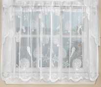 "Reef Seashells Lace 24"" kitchen curtain tier - White"