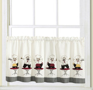 "Cheers Chef 24"" kitchen curtain tier"