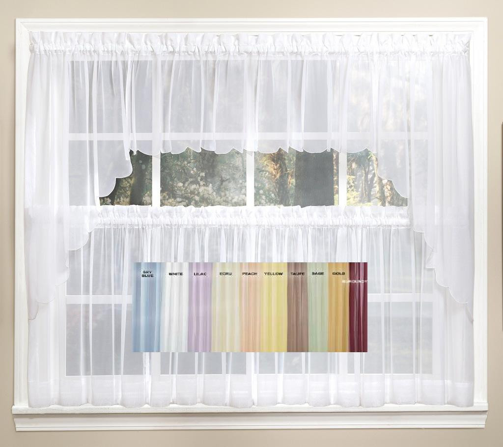 Emelia Sheer Solid Kitchen Curtain Available In 11 Colors Linens4less Com