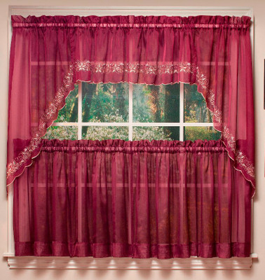 Emelia Embroidered Sheer Kitchen Curtain - Available in 8 Colors