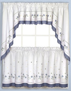 Blue Gingham Floral kitchen curtain tier, swag, valance
