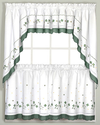 Green Gingham Floral kitchen curtain tier, swag, valance