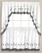 Gingham Floral Kitchen Curtain Blue Linens4less Com