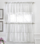 Gypsy Ruffled Kitchen Curtain - White