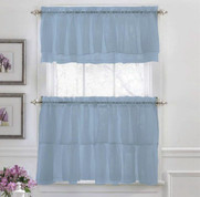 Gypsy Ruffled Kitchen Curtain - Blue