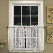 "Hopewell Lace 36"" kitchen curtain tier - White or Cream"