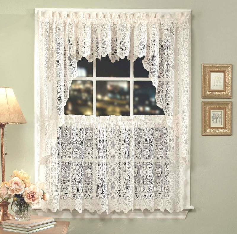 Hopewell Lace Kitchen Curtain - Available in White or Cream