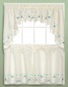 Rachael Embroidered Kitchen Curtain - Blue