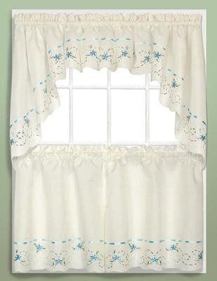 Rachael Embroidered Kitchen Curtain - Blue
