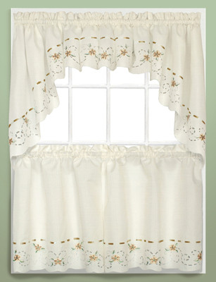 Rachael Embroidered Kitchen Curtain - Taupe